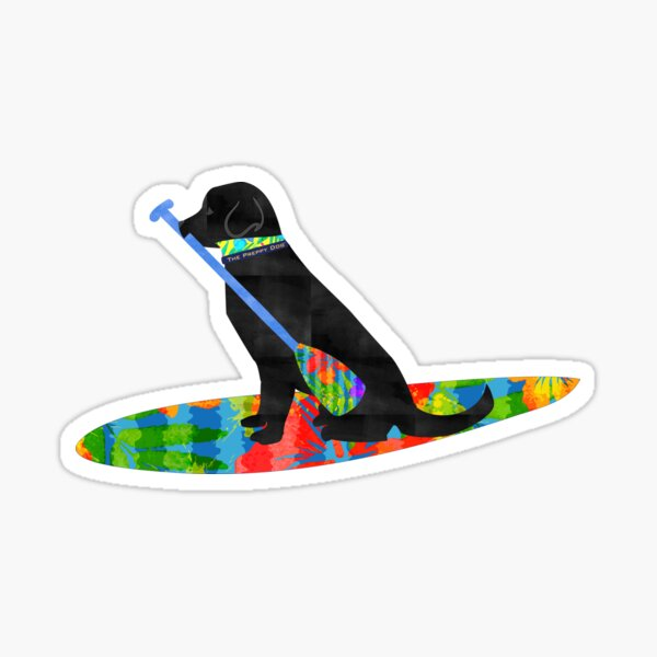 Colorful Stand Up Paddle Board Preppy Black Lab Sticker