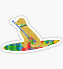 Stand Up Paddle Board Preppy Yellow Lab Sticker
