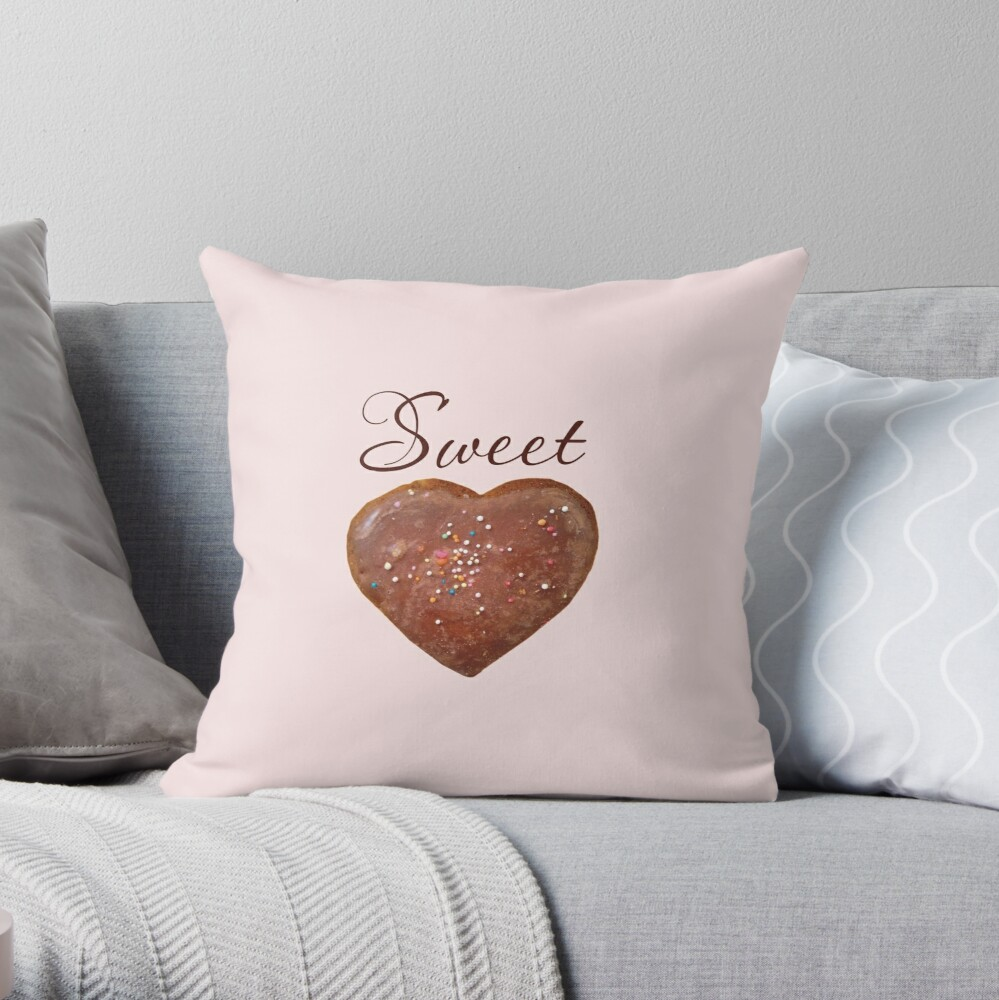 Sweet heart + choc heart Throw Pillow