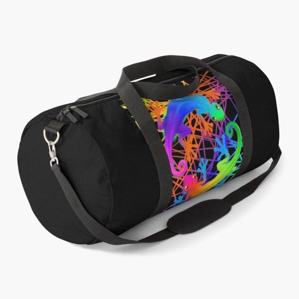 Neon Technicolor Geckos Duffle Bag