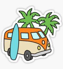 Retro Beach Scene Sticker