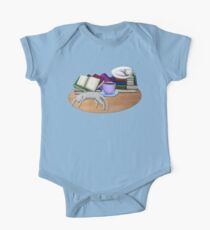 Cat Nap with Books & Tea (White & Tabby) Kids Clothes