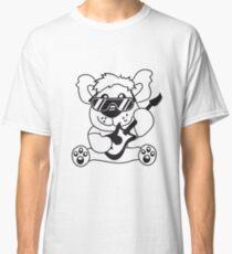electric guitar electro guitar rocker heavy metal hard rock bass band music party concert Teddy Bear comic cartoon sweet cute Classic T-Shirt