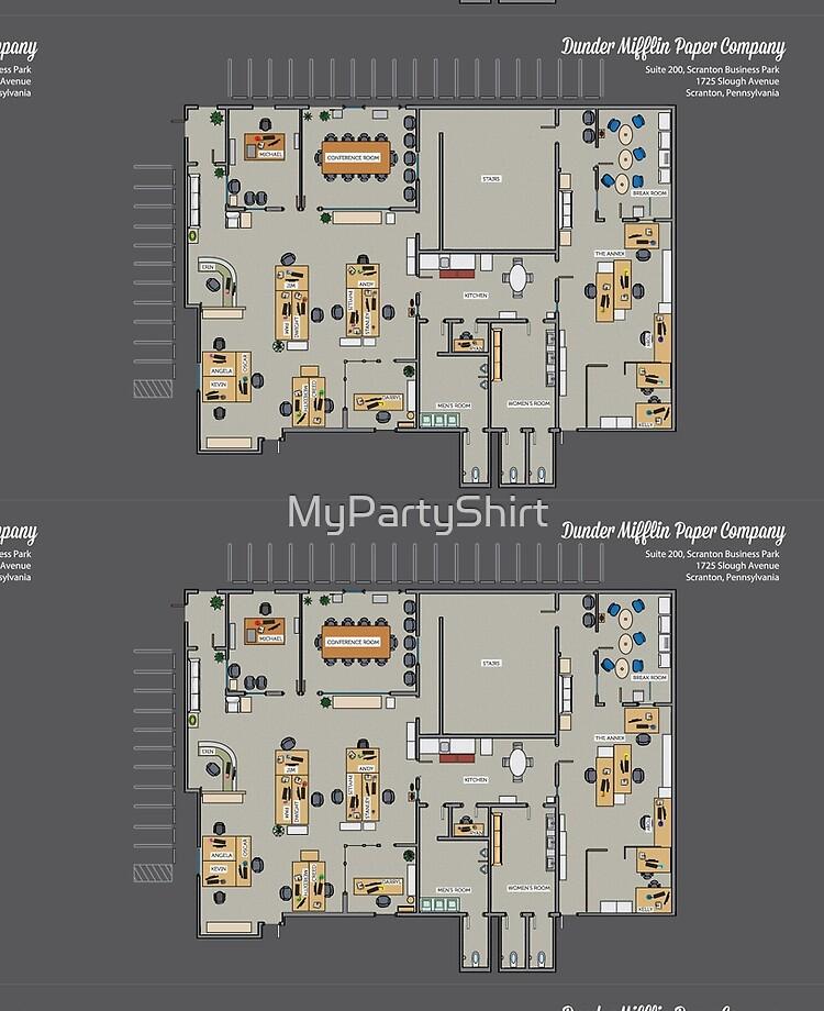 Funda Y Vinilo Para Ipad Plan De Piso De Dunder Mifflin Paper Company Televisor Floorplan Inc Blueprint Gift De Mypartyshirt Redbubble