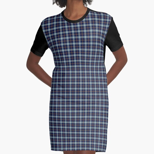 Blue and Brown Plaid Graphic T-Shirt Dress