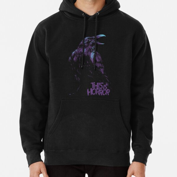 This Is Horror Classic Purple on Black Raven Pullover Hoodie