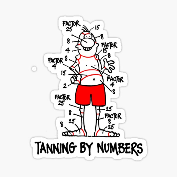 Tanning by Numbers Sticker