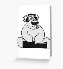dj party music dance club mischpult glasses celebrate headphones cool plate discounted polar bear sitting sweet cute comic cartoon teddy bear dick big Greeting Card