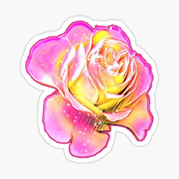 Pink&Yellow Spring Rose Sticker Sticker