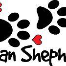 DOG PAWS LOVE GERMAN SHEPHERD DOG PAW I LOVE MY DOG PET PETS PUPPY STICKER STICKERS DECAL DECALS by MyHandmadeSigns