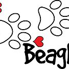 DOG PAWS LOVE BEAGLE DOG PAW I LOVE MY BEAGLES DOG PET PETS PUPPY STICKER STICKERS DECAL DECALS by MyHandmadeSigns