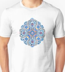 Blue, yellow, orange floral mandala pattern Unisex T-Shirt