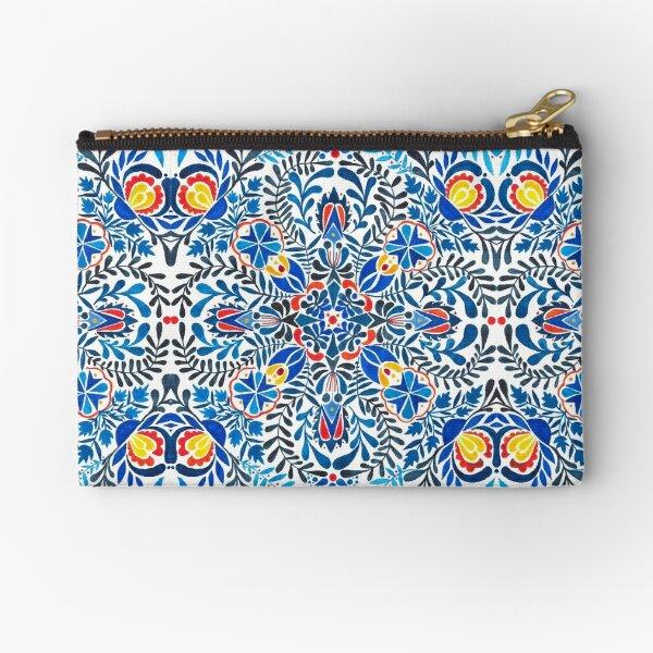 Blue, yellow, orange floral mandala pattern Zipper Pouch