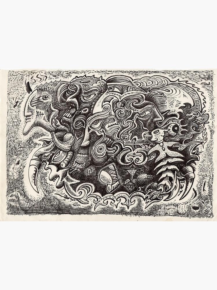 Hybrid Beast ink drawing by backbrain