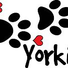 DOG PAWS LOVE YORKIE YORKSHIRE TERRIER DOG PAW I LOVE MY DOG YORKIES PET PETS PUPPY STICKER STICKERS DECAL DECALS by MyHandmadeSigns