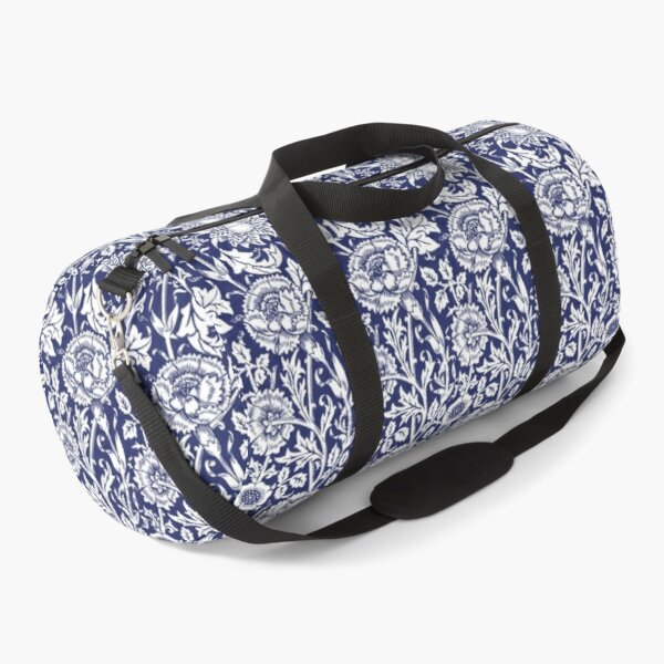William Morris Carnations | Navy Blue and White Floral Pattern | Flower Patterns | Vintage Patterns | Classic Patterns | Duffle Bag