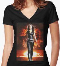 Summer Glau - BADASS WOMEN Women's Fitted V-Neck T-Shirt