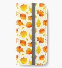 Yellow Autumn Leaves Watercolor iPhone Wallet