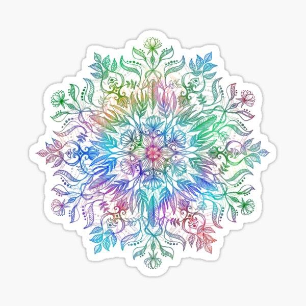 Nature Mandala in Rainbow Hues Sticker