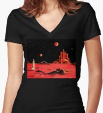 CITY ON MARS Women's Fitted V-Neck T-Shirt
