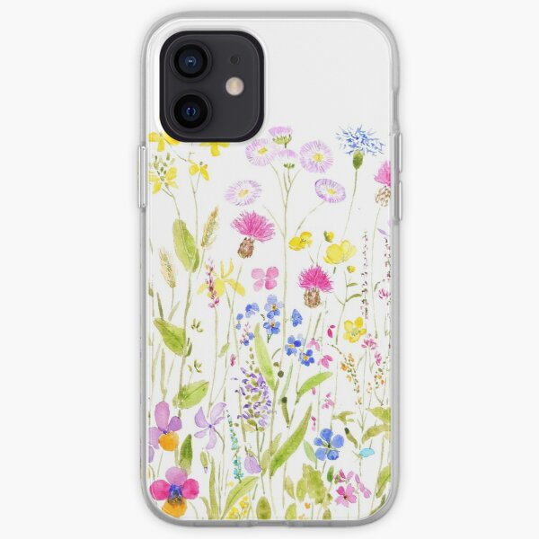 colorful meadow fields watercolor iPhone Soft Case