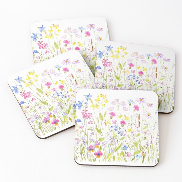 colorful meadow fields watercolor Coasters (Set of 4)