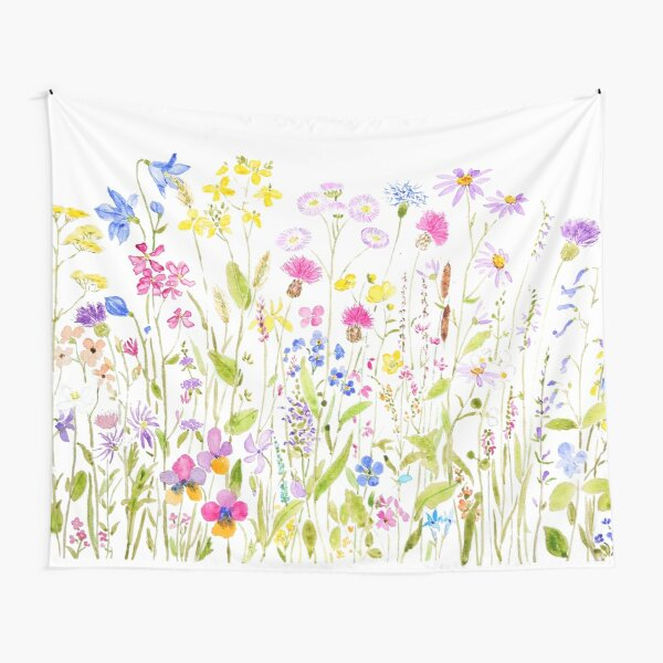 colorful meadow fields watercolor Tapestry