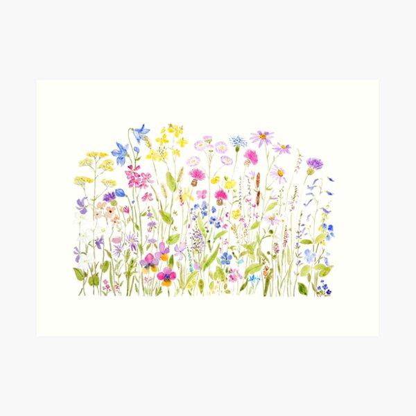 colorful meadow fields watercolor Art Print