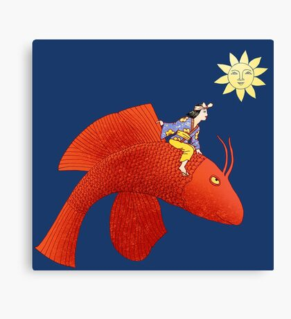 Girl on Flying Fish Canvas Print