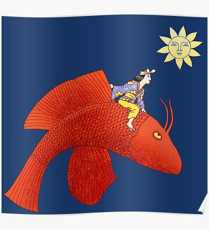 Girl on Flying Fish Poster