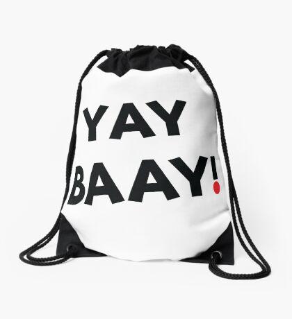 YAY BAAY (Black) Drawstring Bag