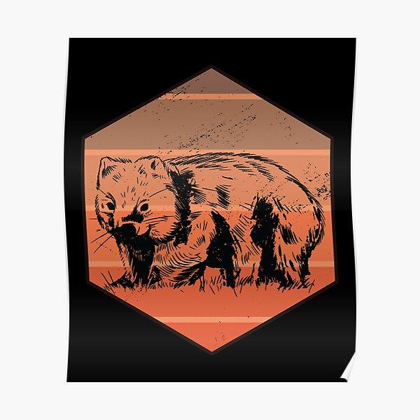 Wombat Retro Poster