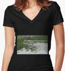 Eleven Duckling's in the Rain Women's Fitted V-Neck T-Shirt