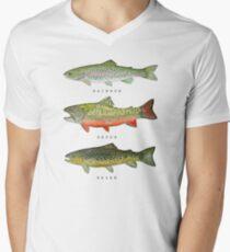 Forellen-Triade T-Shirt mit V-Ausschnitt