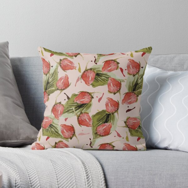 Rose Bud in Pink Throw Pillow