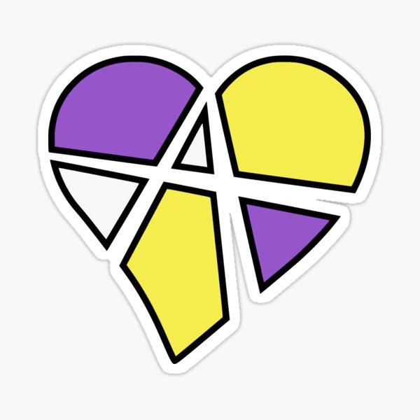 Nonbinary Relationship Anarchy Heart (Black) Sticker