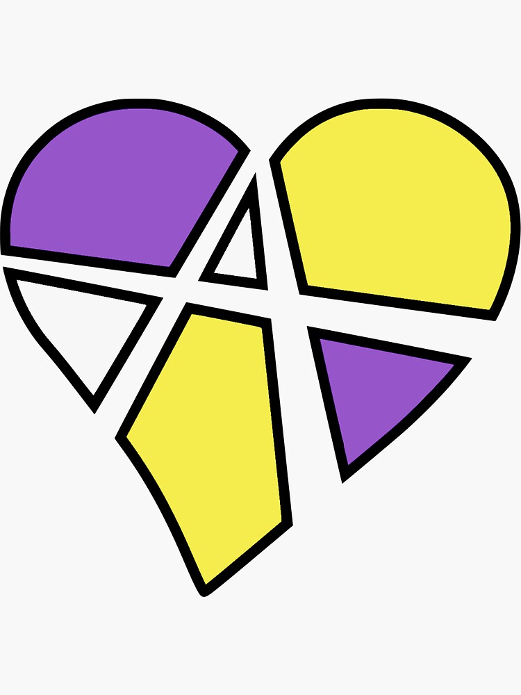 Nonbinary Relationship Anarchy Heart (White) by polyphiliashop