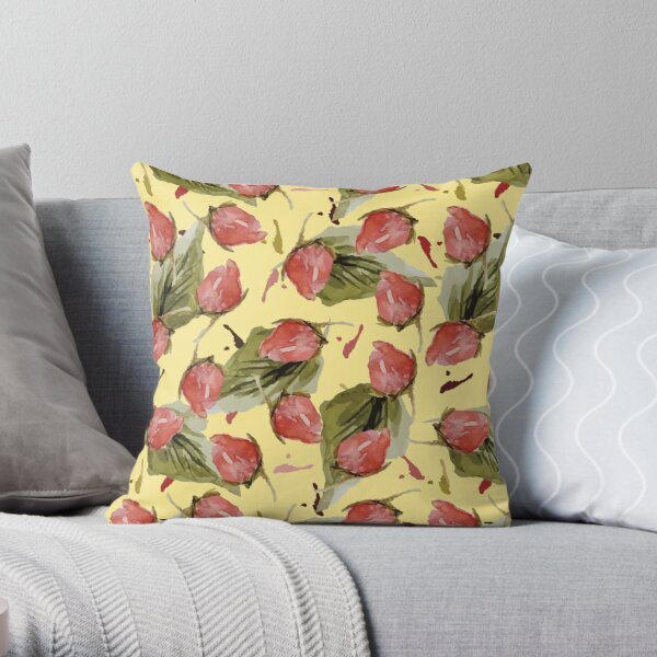 Rose Bud in Yellow Throw Pillow