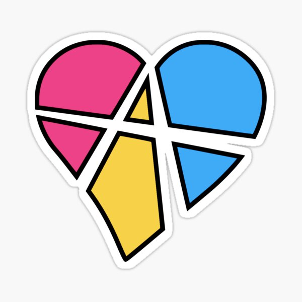 Pansexual Relationship Anarchy Heart (White) Sticker