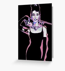 Audrey Hepburn Psychedelic Pop Art Portrait Greeting Card