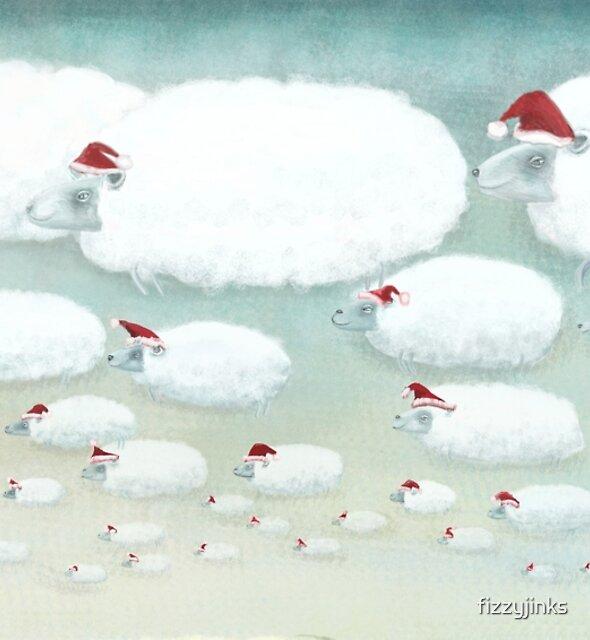 Christmas Cloudy Sheep by fizzyjinks