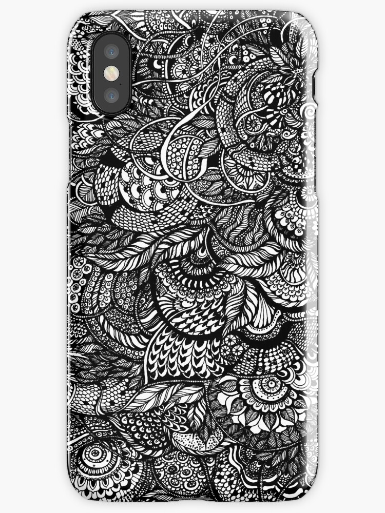 Hand drawing black and white zentangle pattern by kanvisstyle