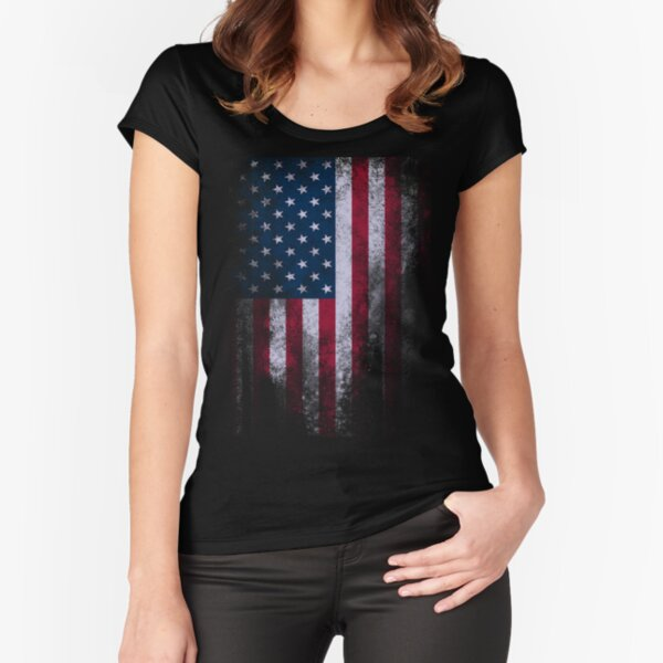 USA America Flag Fitted Scoop T-Shirt