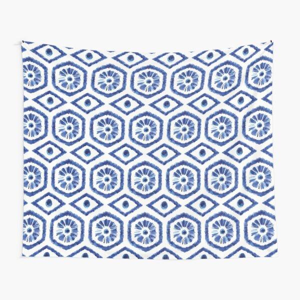 Watercolor traditional shibori blue pattern Tapestry