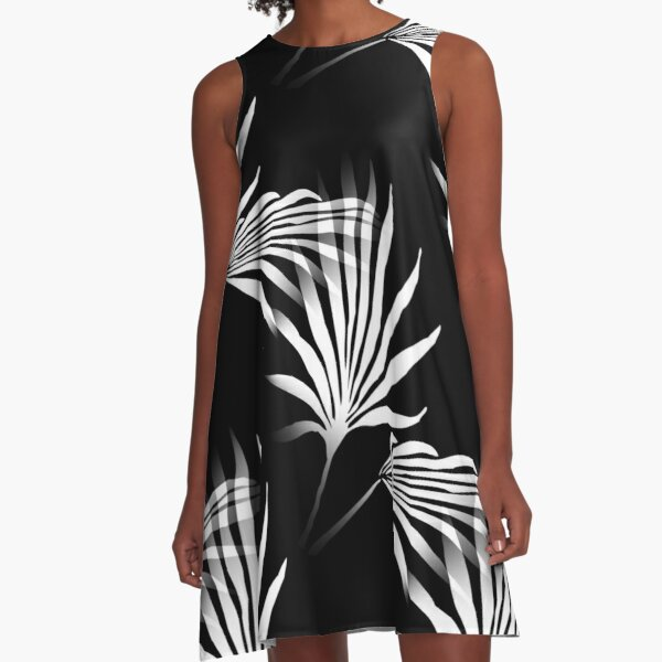 Tropical Palm Fronds Leaf Print Black and White A-Line Dress