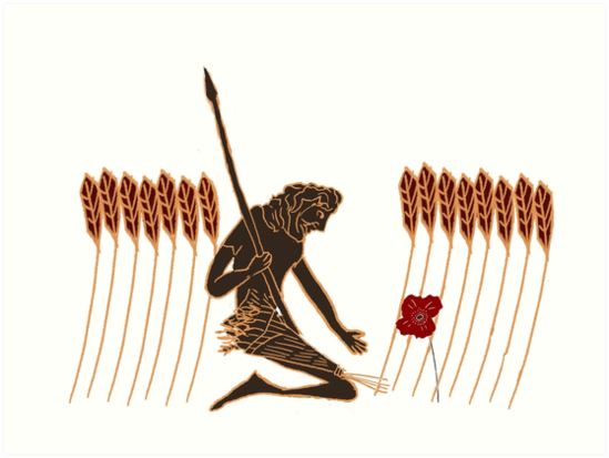 ancient greek farmer kneeling before poppy art prints by chris