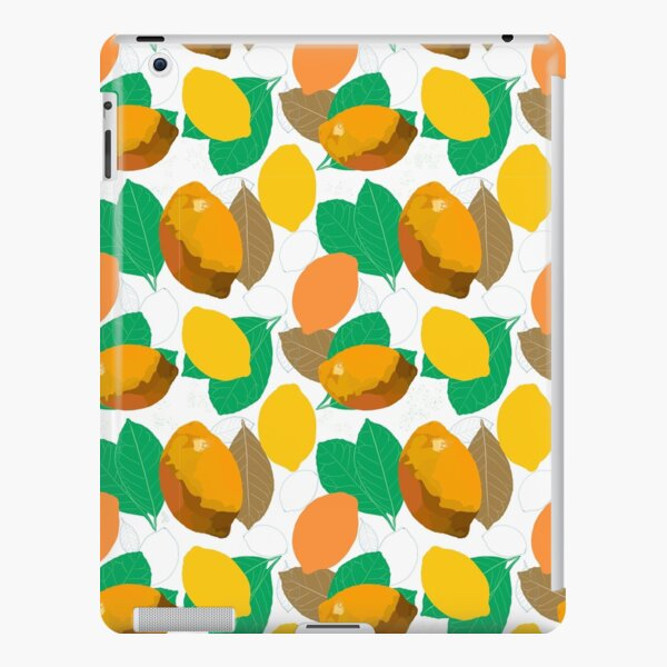 Warm yellow lemons and green leafs on white background. iPad – Leichte Hülle