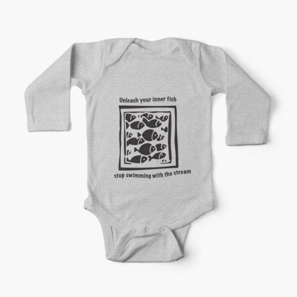 Swimming against the stream Tee Long Sleeve Baby One-Piece