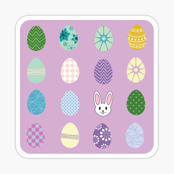 Cute Easter Bunnies Colorful Patterned Egg Hunt Sticker