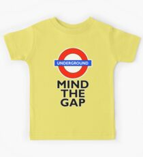 TUBE, London, Underground, Mind the gap, BRITISH, BRITAIN, UK, English, on WHITE Kids Tee